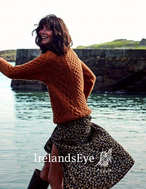 Page 13 A653 Blasket Honeycomb Stitch Aran Sweater in Golden Ochre