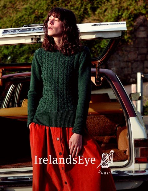 Page 37 A851 Kinsale Cable Front Round Neck Sweater in Botanical Green